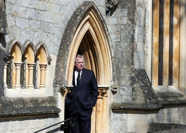 Prins Andrew bij de begrafenis van zijn vader, prins-gemaal Philip. Beeld AP