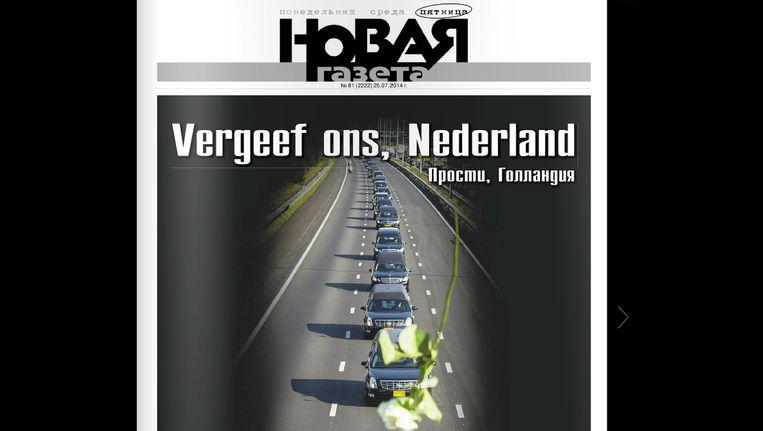 De voorpagina van Novaja Gazeta met de Nederlandse tekst 'Vergeef ons, Nederland', uitgebracht na de ramp met vlucht MH17. Beeld ANP