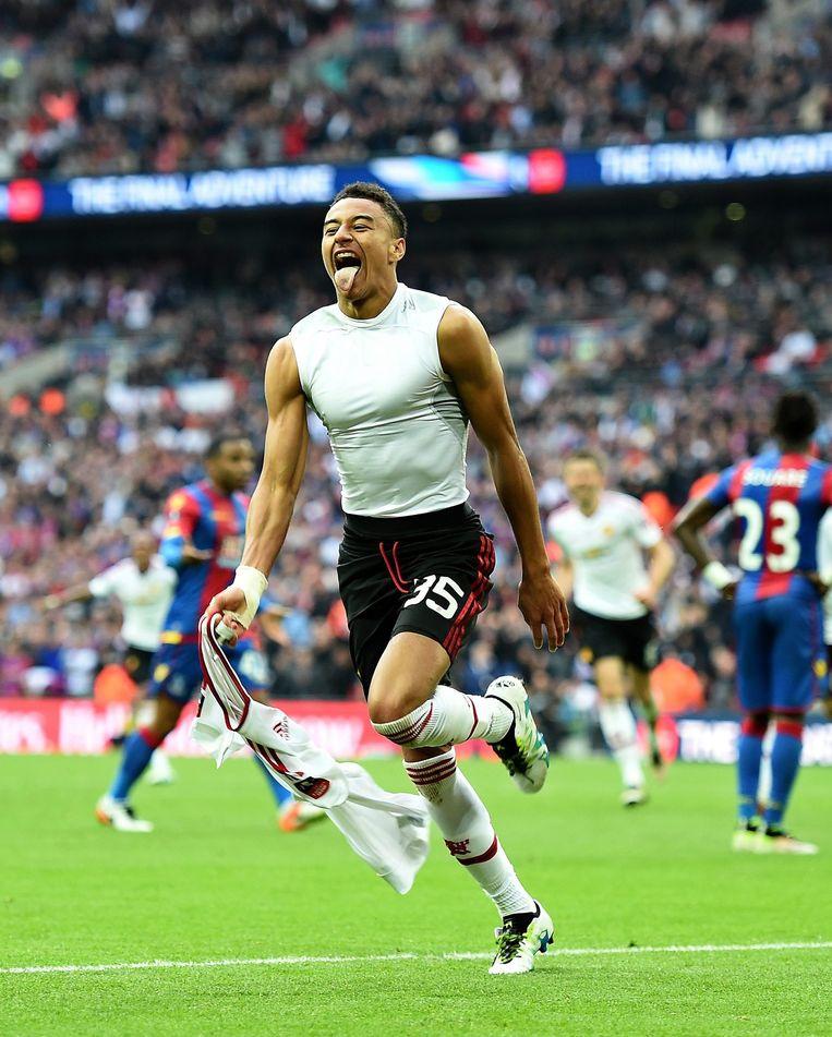 Jesse Lingard scoorde de winnende goal voor Manchester United. Beeld null