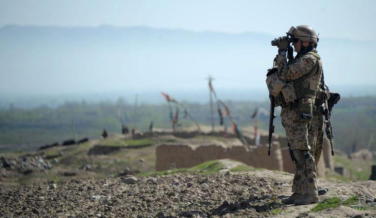 Duitse militairen bij Taloqan, de hoofdstad van de provincie Takhar, in het noorden van Afghanistan. Beeld AFP
