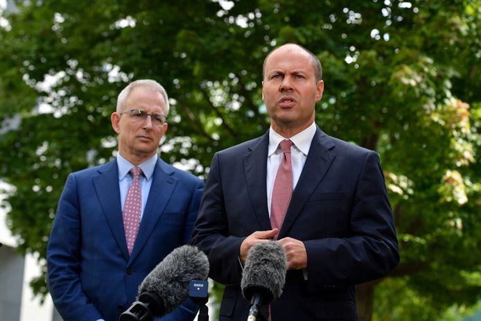 De Australische communicatieminister Paul Fletcher en minister van Financiën Josh Frydenberg.