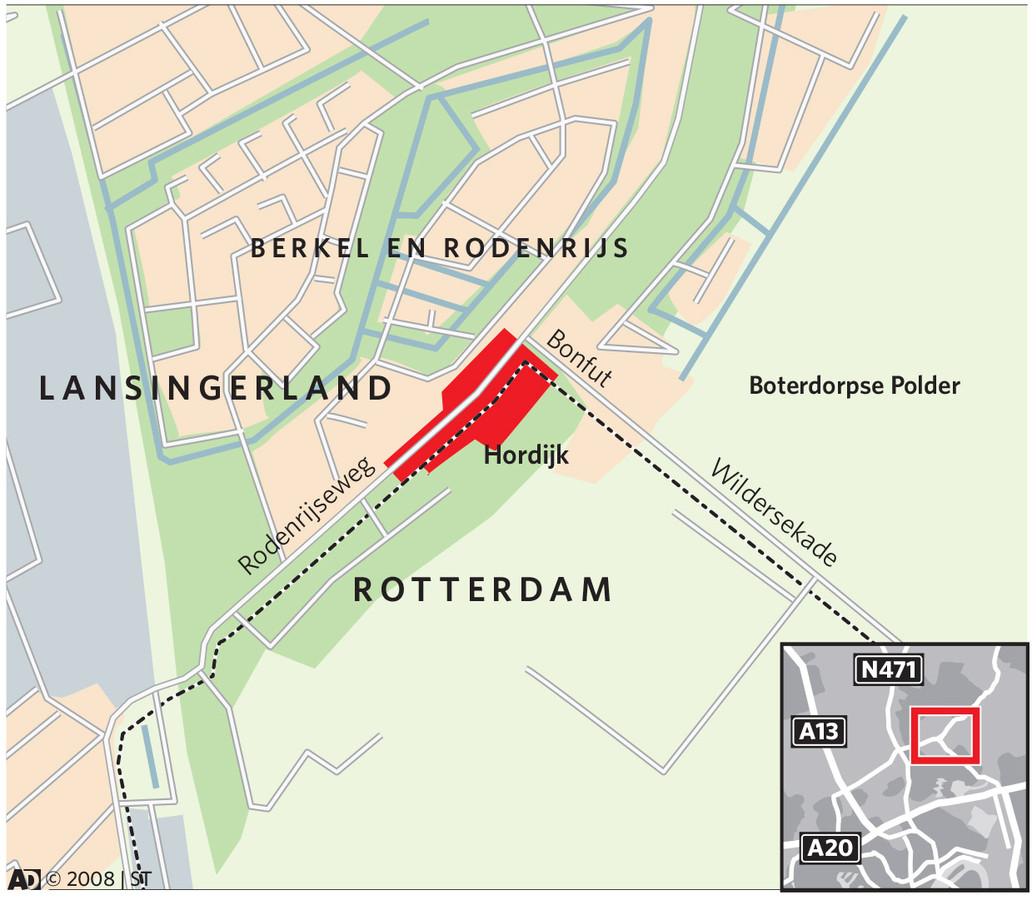 Kaart met de gemeentegrens tussen Rotterdam en Lansingerland en het terrein van de oude palletfabriek Hordijk.