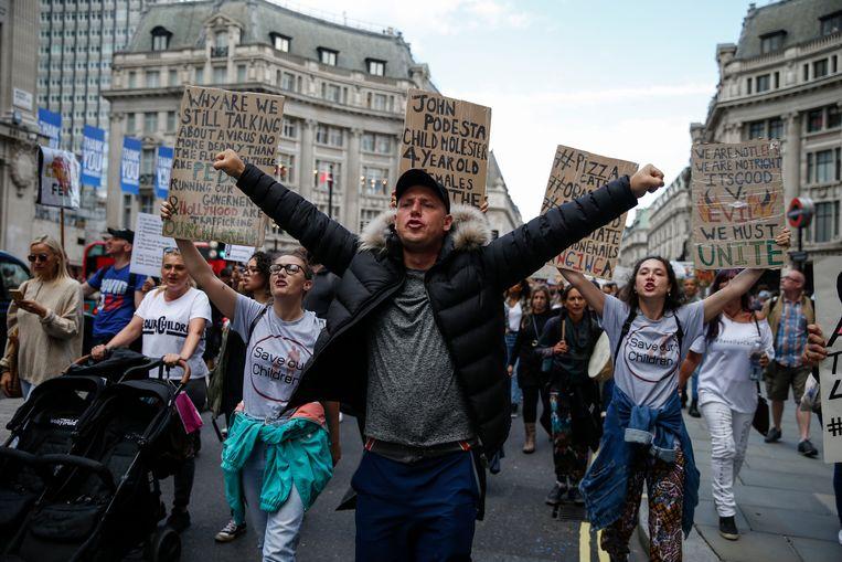 Londen: Duizenden betogers uiten hun onvrede over de maatregelen die het kabinet-Johnson neemt tegen corona, 5 september 2020. Beeld Getty Images