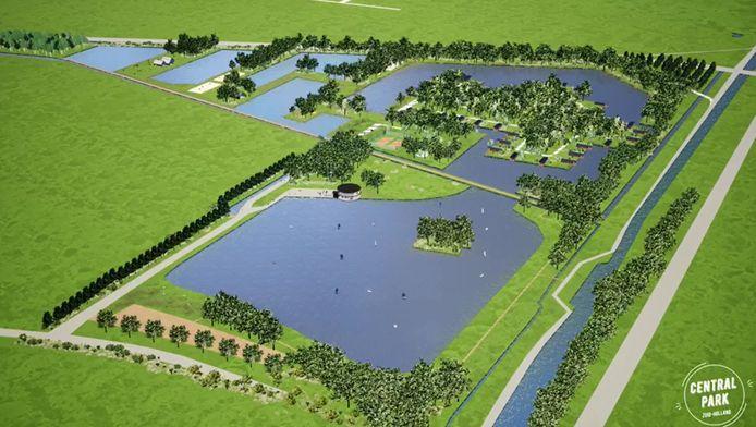 Een beeld van de plannen met de Slingelandse Plassen.