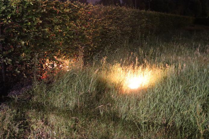 In een weiland bij de ingang van de gereformeerde kerk in Barneveld stond een stuk grasland in de brand.