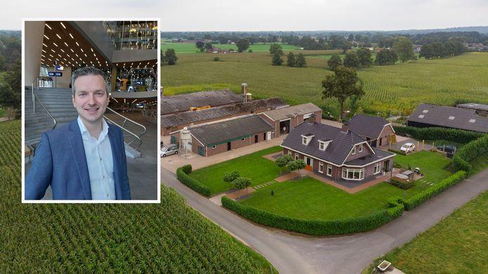 Dit boerenbedrijf aan de Zeggelaarsweg in Lunteren staat op de lijst om te worden verkocht om de A15 te kunnen verlengen. Inzet: statenlid Dirk Vreugdenhil.