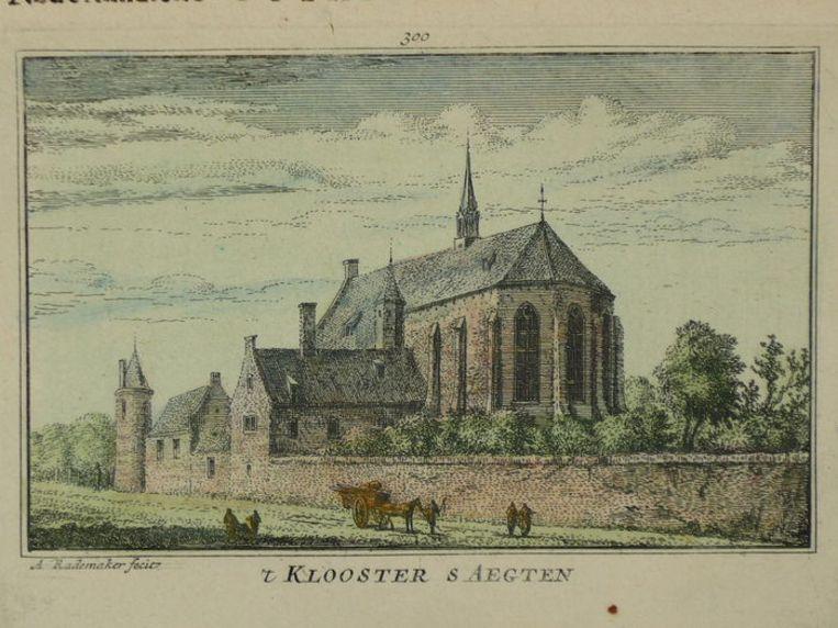 Het klooster van Sint Agatha op een gravure uit 1725 van Abraham Rademaker. Beeld