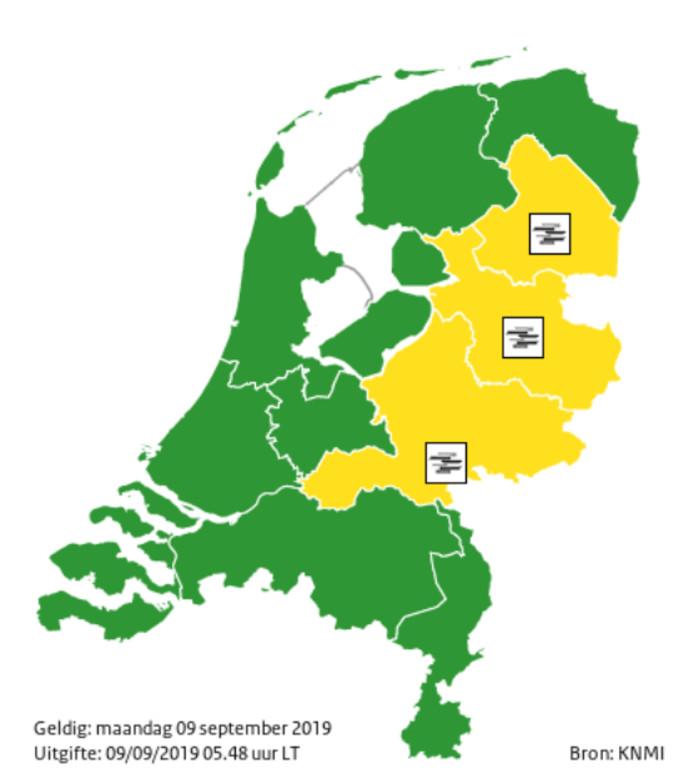 Code geel in Oost-Nederland vanwege plaatselijk dichte mist.