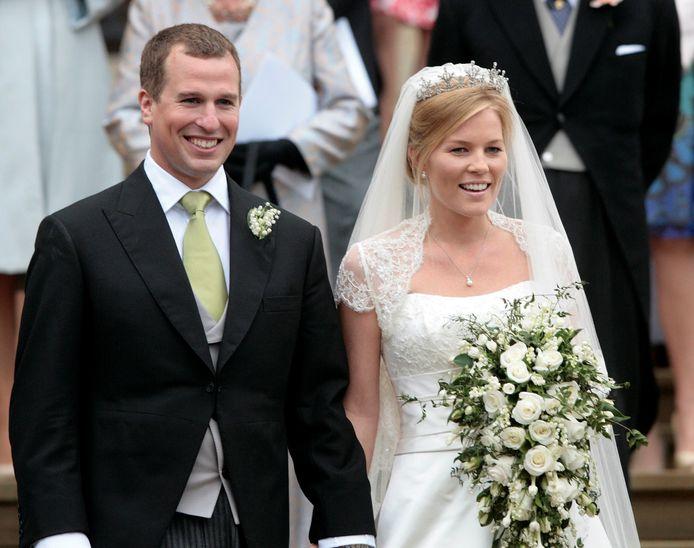 Peter Phillips en Autumn Kelly op hun trouwdag