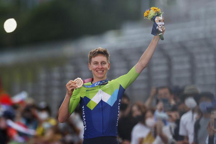 Pogacar pakte brons in de olympische wegrit.