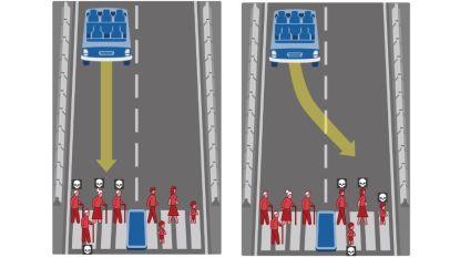 Wie mag de zelfrijdende wagen omverrijden: de bejaarde of het kind?
