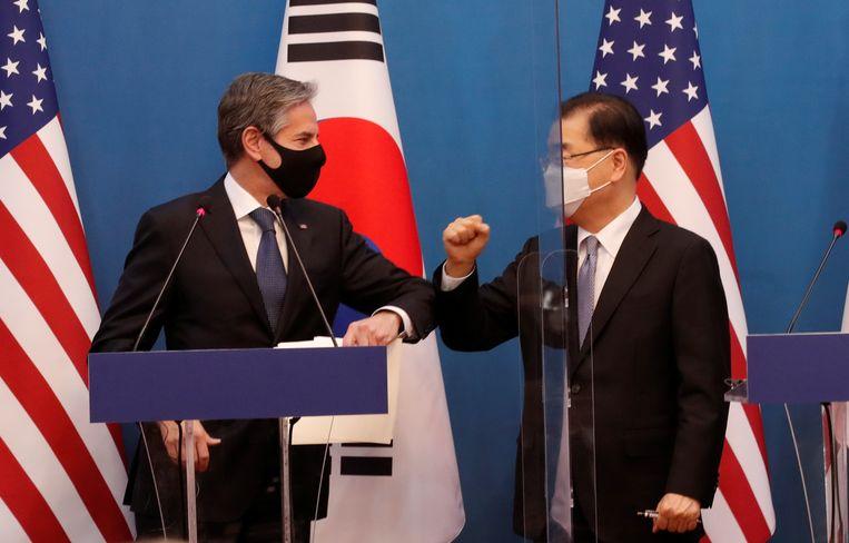 De Amerikaanse minister van Buitenlandse Zaken Antony Blinken en de Zuid-Koreaanse buitenlandminister Chung Eui-yong. Beeld REUTERS