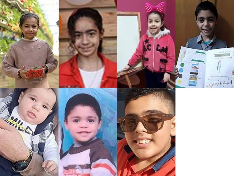 Twintig leden van de familie Al-Qawlag lieten het leven tijdens een luchtaanval, onder wie Yara, Hala, Rula, Zaid, Qusai, Adam, Ahmad en Hana (niet op de foto). Een Israëlische luchtaanval werd hen fataal. Beeld NYT