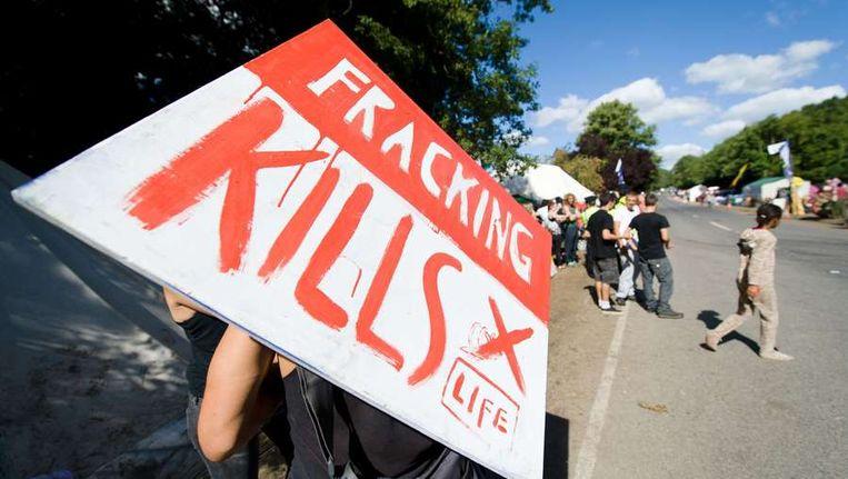 In het Britse Balcombe wordt momenteel fel gedemonstreerd tegen schaliegas Beeld afp