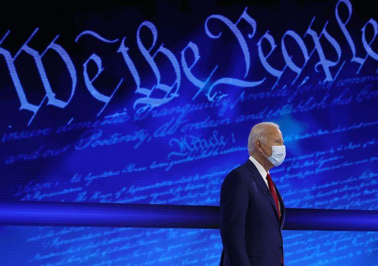 Joe Biden tijdens de 'town hall meeting'. Beeld Getty Images