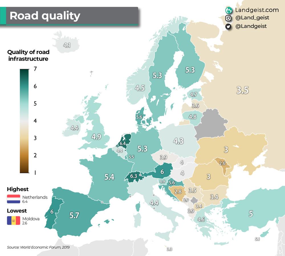Op deze kaart is te zien welke landen wegen als knollenvelden hebben en waar je rijdt als op een biljartlaken.