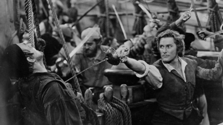 Errol Flynn in The Sea Hawk van Michael Curtiz. Beeld