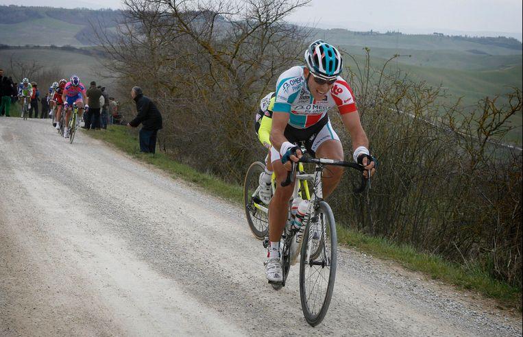 Philippe Gilbert was in 2011 de laatste Belgische winnaar in de Strade Bianche - toen nog in het shirt van Omega Pharma-Lotto Beeld Photo News