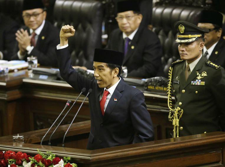 Joko Widodo tijdens zijn inauguratietoespraak. Beeld ap
