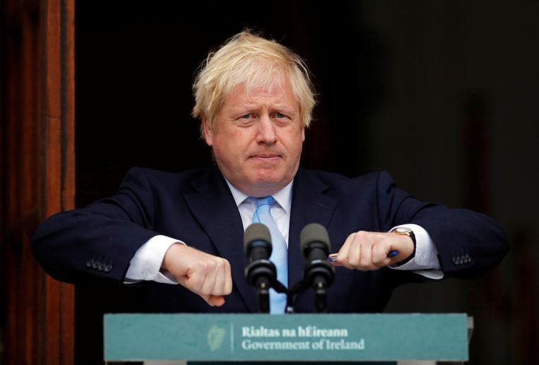 Brits premier Boris Johnson tijdens een toespraak in Dublin. Beeld REUTERS