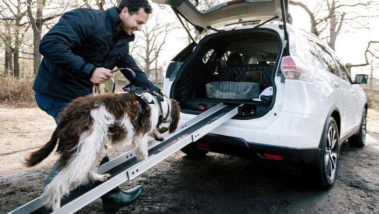 Over de speciale loopplank betreedt Hector de Nissan X-Trail. Aan boord wacht hem een lekvrije waterbak. Beeld Nissan