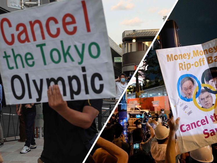 Protest buiten Olympisch Stadion: 'Annuleer de Spelen, red levens!'