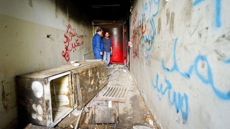 Gangenstelsel onder het verwoeste hoofdkwartier van voormalig dictator Kaddafi. © ANP Beeld