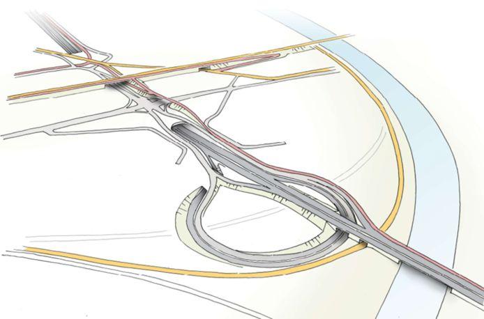 De R4 gaat in een tunnel onder het kruispunt met de N456. De gele lijnen zijn spoor- en tramlijnen. De rode lijnen zijn de fietssnelwegen.