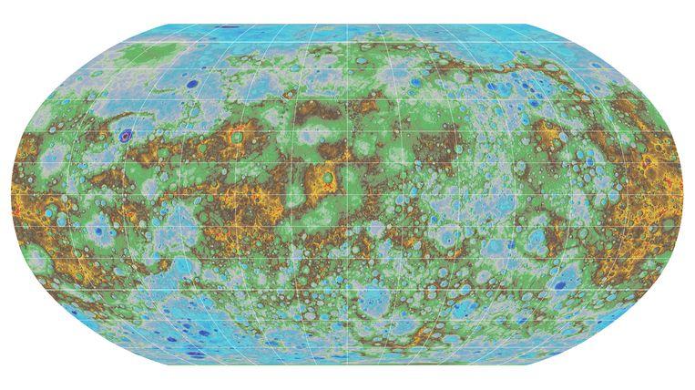 De topografische kaart van Mercurius.