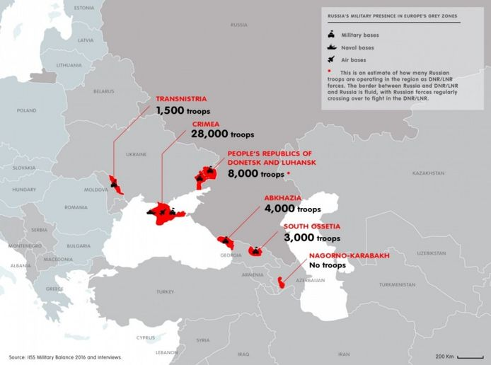 Rusland mengt zich in veel bevroren conflicten. Zo hebben ze onder meer troepen in Transnistrië, Abchazië en Zuid-Ossetië.