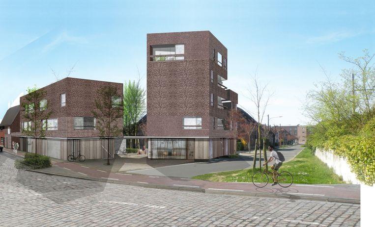 Een toekomstbeeld van de zestien nieuwe huurappartementen, op de kop van de Graaf Boudewijn IX-laan en de Tuighuisstraat.