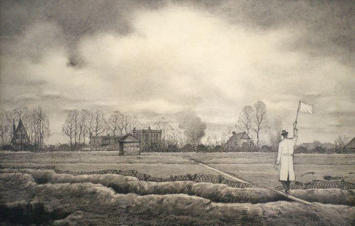 Kunstzinnige weergave van de heldendaad die dr. Van Bork verrichtte in april 1945, toen hij met een witte vlag door de linies in Warnsveld en Leesten trok om de Canadezen te wijzen op een vergissing.