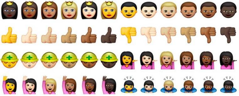 De 'multiculturele' emoji.