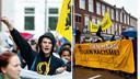 Links: Demonstranten tijdens de Mars van de Vrijheid tegen moslimradicalen en anti-semitisme in de Schilderswijk. Rechts: Demonstreren voeren actie tegen racisme in de wijk Transvaal, in 2011