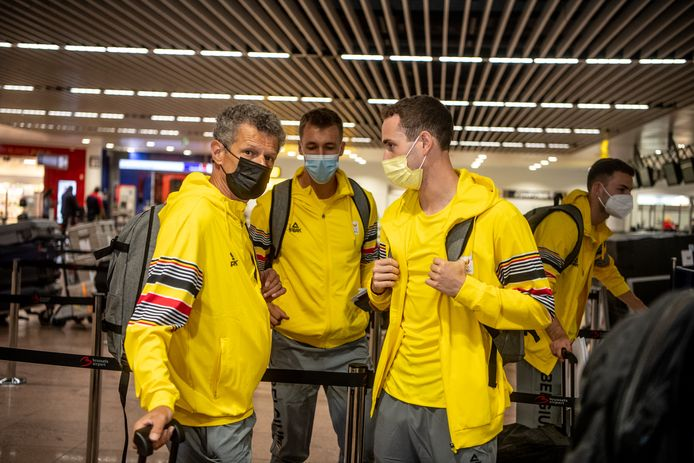 BRUSSELS, BELGIUM, on July 14, 2021   Belgian athletics coach Jacques Borlee and Belgian Jonathan Sacoor and Belgian Julien Watrin  Pictured in Brussels, Brussels, on 14/07/2021. ( Photo by Mathieu Golinvaux / Photo News )