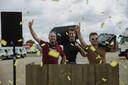 Het 'Knal Festival' zal plaatsvinden op de parking van de Hendrickxhallen in Sint-Truiden, en onder toeziend oog van organisatoren Thibaut Sente (links), Jerome Fontaine (midden) en Peter Onkelinx (rechts).