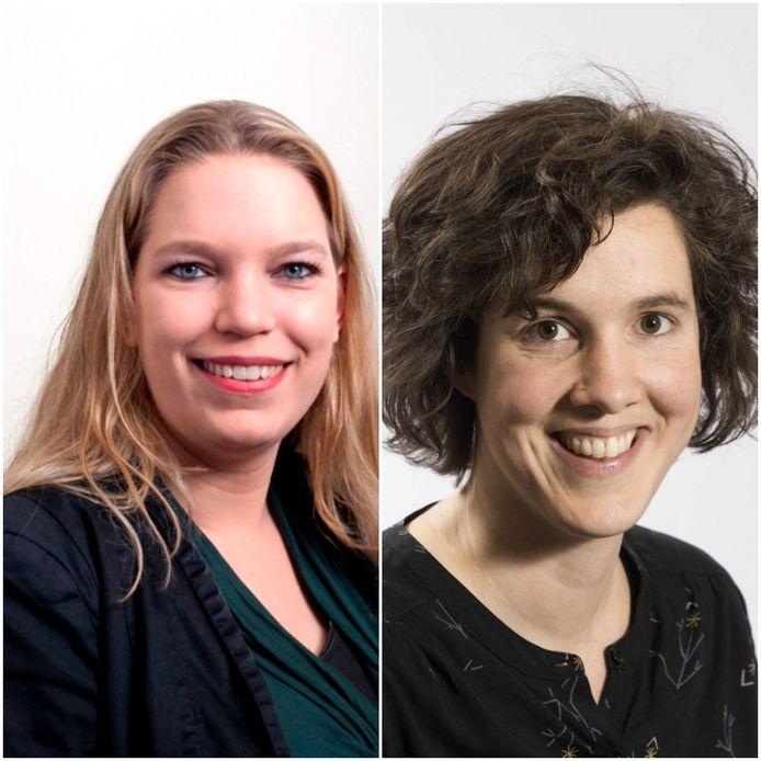 SP-raadslid Petra Moolenaar (links) en GroenLinks-raadslid Cilia Daemen (rechts).