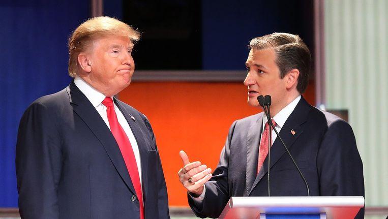Donald Trump en Ted Cruz. Beeld afp