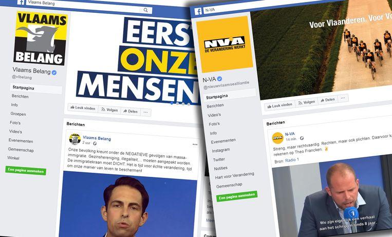 Vlaams Belang heeft bijna 400.000 volgers op Facebook, N-VA bijna 200.000. Beeld Facebook