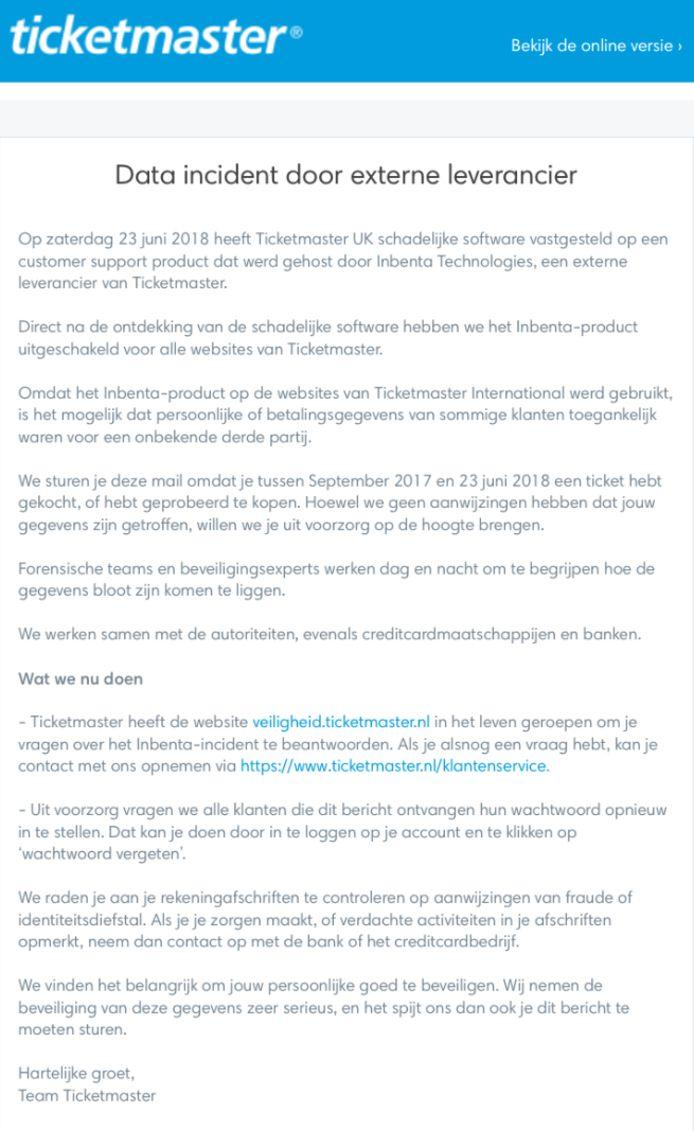 De e-mail die Ticketmaster vandaag naar Nederlandse klanten stuurde die tussen september vorig jaar en eind vorige week kaarten kochten