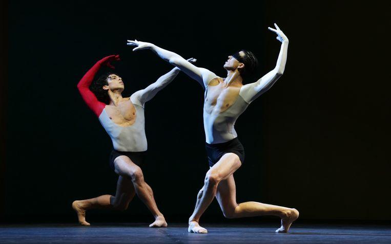 Timothy van Poucke en Martin ten Kortenaar in Lucifer Studies van choreograaf Toer van Schayk door Het Nationale Ballet. Beeld Hans Gerritsen