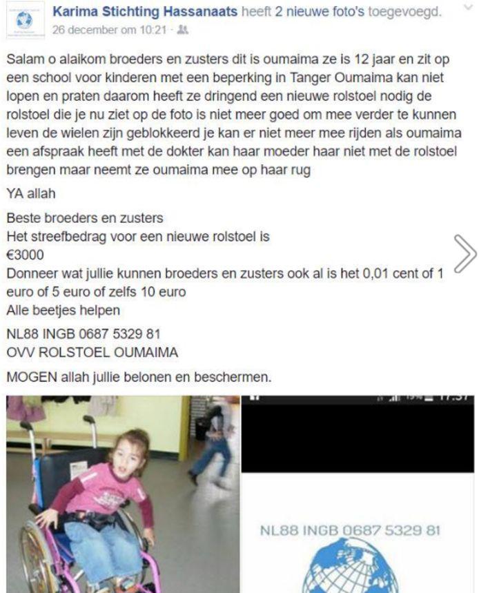Het bericht van de stichting op Facebook.