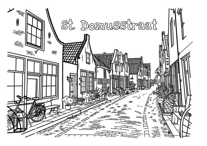 De Sint Domusstraat in Zierikzee uit het kleurboek van Evelyn Pokorni