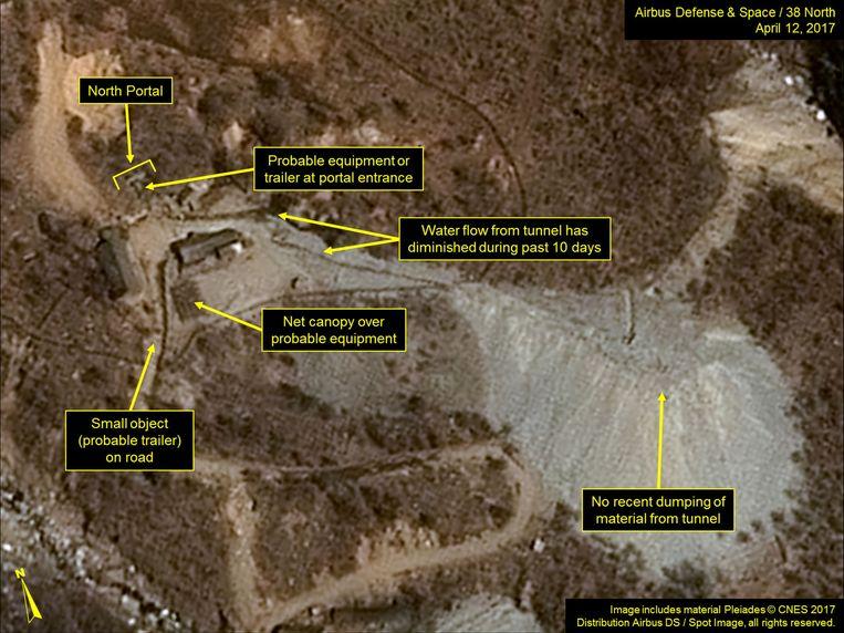 Een satellietfoto van de nucleaire testlocatie Punggye-ri in Noord-Korea.