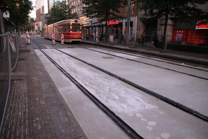 Een flink spoor op de Hofweg.