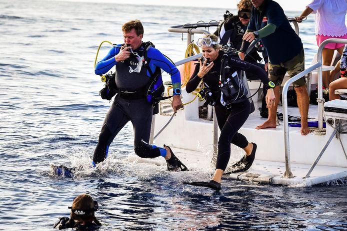 Koning Willem-Alexander en koningin Maxima duiken in het water tijdens een vaartocht om de kwetsbare natuur en koraalriffen van de Saba Bank te bekijken.