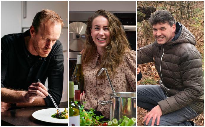 Vlnr.: chefkok Peter Gast, wijnspecialist Laura Lemmers en patissier Bart-Jeroen Overveld.
