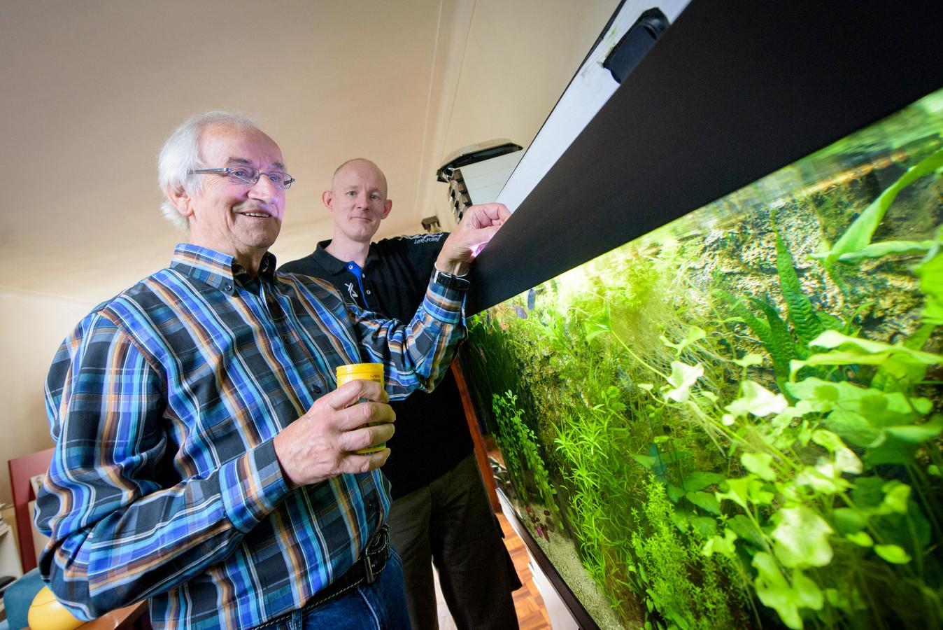 Voorzitter Ferdie Gosselink van aquariumvereniging Vivarium, met achter hem Dennis Louwers.