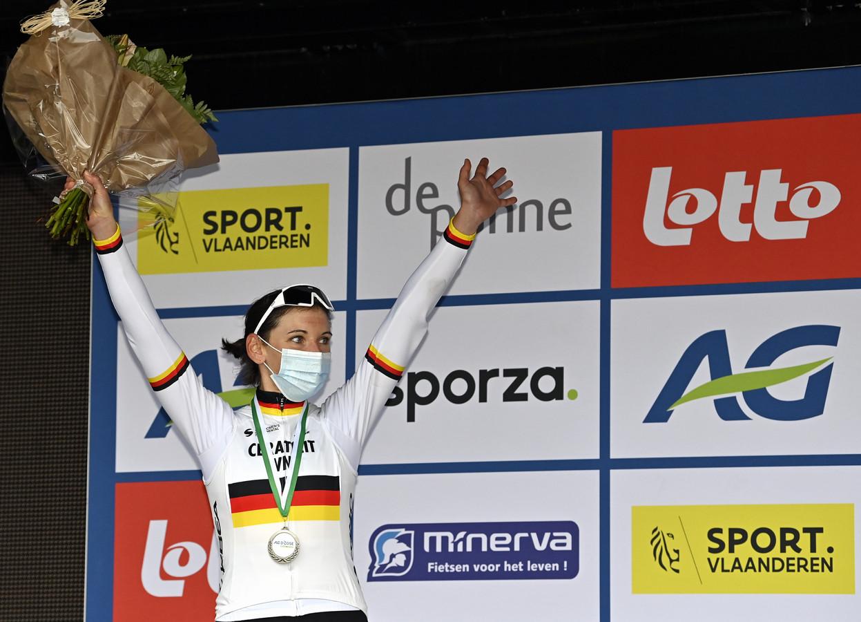 Lisa Brennauer na het winnen van de Driedaagse De Panne op 20 oktober.