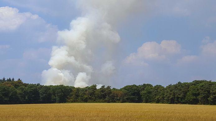Brand op de Veluwe.